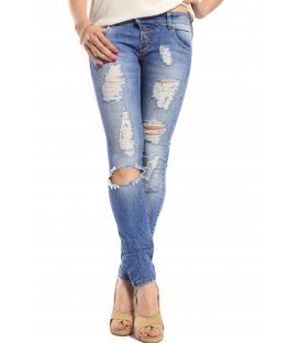 WIYA Jeans slim fit with con strappi DENIM Art. EVE MADE IN ITALY