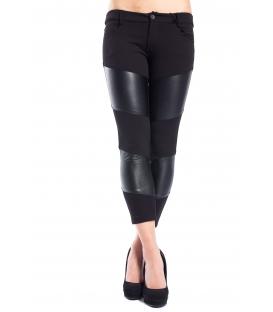 DENNY ROSE Pantalone con dett. ecopelle NERO 52DR22008