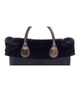 Bordo Ecopelliccia rabbit nero per O Bag mini