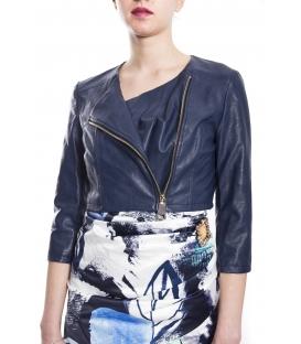 RINASCIMENTO Giacca donna in ecopelle con zip BLUE Art. CFC0073064003