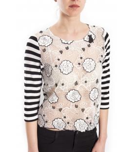 DENNY ROSE T-shirt con inserti in pizzo NERO / BIANCO 63DR16001