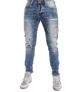 GIANNI LUPO Jeans con strappi e toppe 4 bottoni DENIM Art. CO77GL