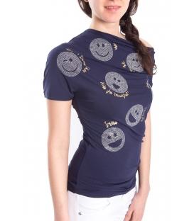 DENNY ROSE T-shirt con smile BLU Art. 63DR16022