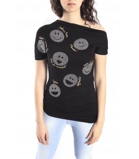 DENNY ROSE T-shirt con smile NERO Art. 63DR16022
