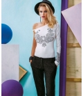 DENNY ROSE T-shirt con strass BIANCO 51DR62010