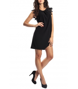 IMPERIAL Dress with faux leather detail A600C550 BLACK new