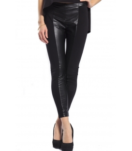 IMPERIAL Pants slim fit with zip+eco-leather details BLACK PRM4OEL NEW