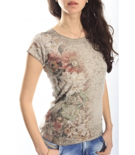 MARYLEY T-shirt con stampa fiori BEIGE 5EB985