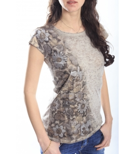 MARYLEY T-shirt con stampa fiori BEIGE Art. 5EB987
