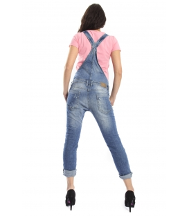 PLEASE Salopette boyfriend baggy with rips DENIM deluxe P65