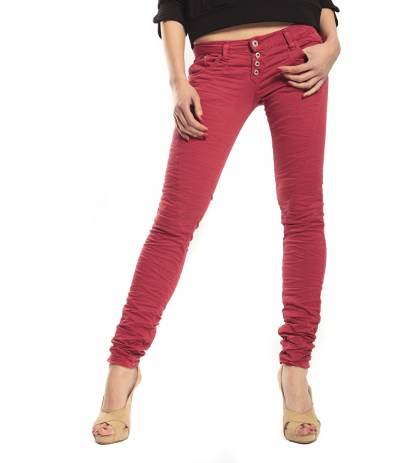 PLEASE jeans slim fit 4 buttons CARDINAL RED P68 OLD+3D