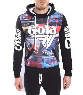 GOLA Felpa con cappuccio e stampa BLACK GOU371