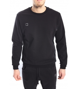 STK SUPER TOKYO Sweatshirt with eco leather BLACK STK1121
