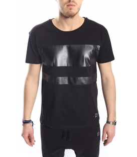 STK SUPER TOKYO T-shirt with eco leather BLACK STK1148