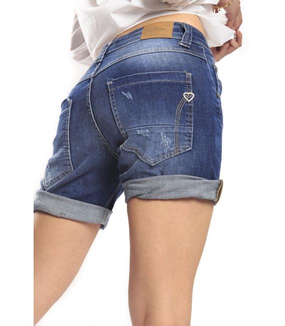PLEASE shorts boyfriend baggy 5 buttons with rips DARK DENIM P88Z17
