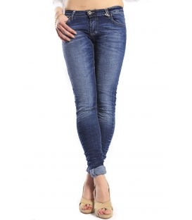 PLEASE jeans slim fit with zip DENIM P21