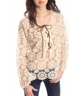 DENNY ROSE Blouse with lace WHITE 46DR41002