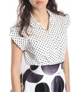 DENNY ROSE Camicia in cotone a pois BIANCO 46DR41025