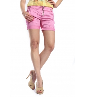 MARYLEY Shorts boyfriend baggy 4 buttons B67B PINK
