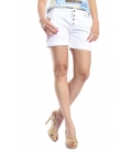 MARYLEY Shorts boyfriend baggy 4 buttons B67B WHITE