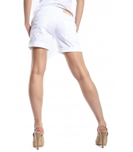 MARYLEY Shorts boyfriend baggy 4 bottoni B67B BIANCO