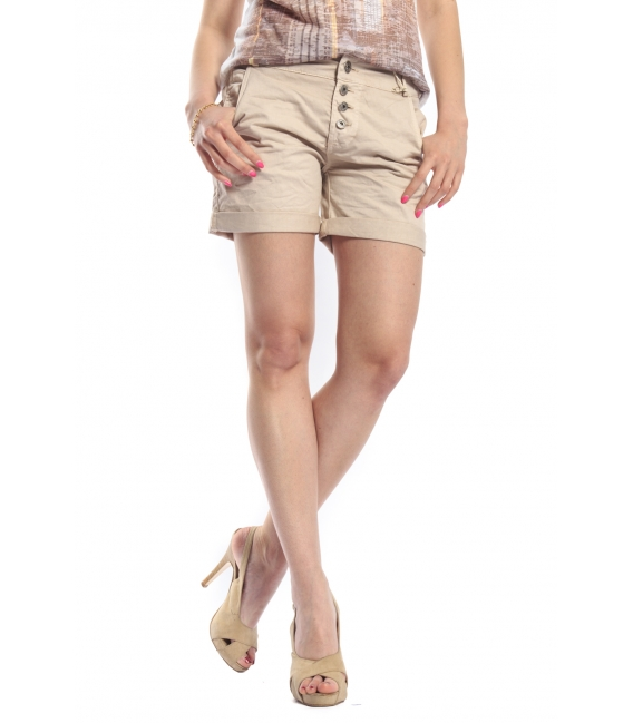 MARYLEY Shorts boyfriend baggy 4 buttons B67B BEIGE