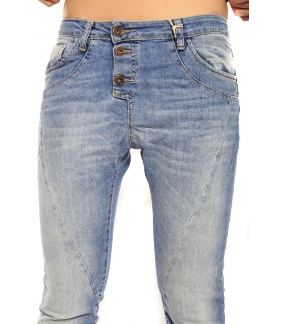 PLEASE jeans boyfriend baggy 3 buttons DENIM light P78LIGHT NEW