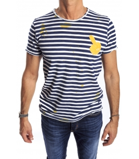 GIANNI LUPO T-shirt con stampa righe BIANCO/BLU Art. 1816-21