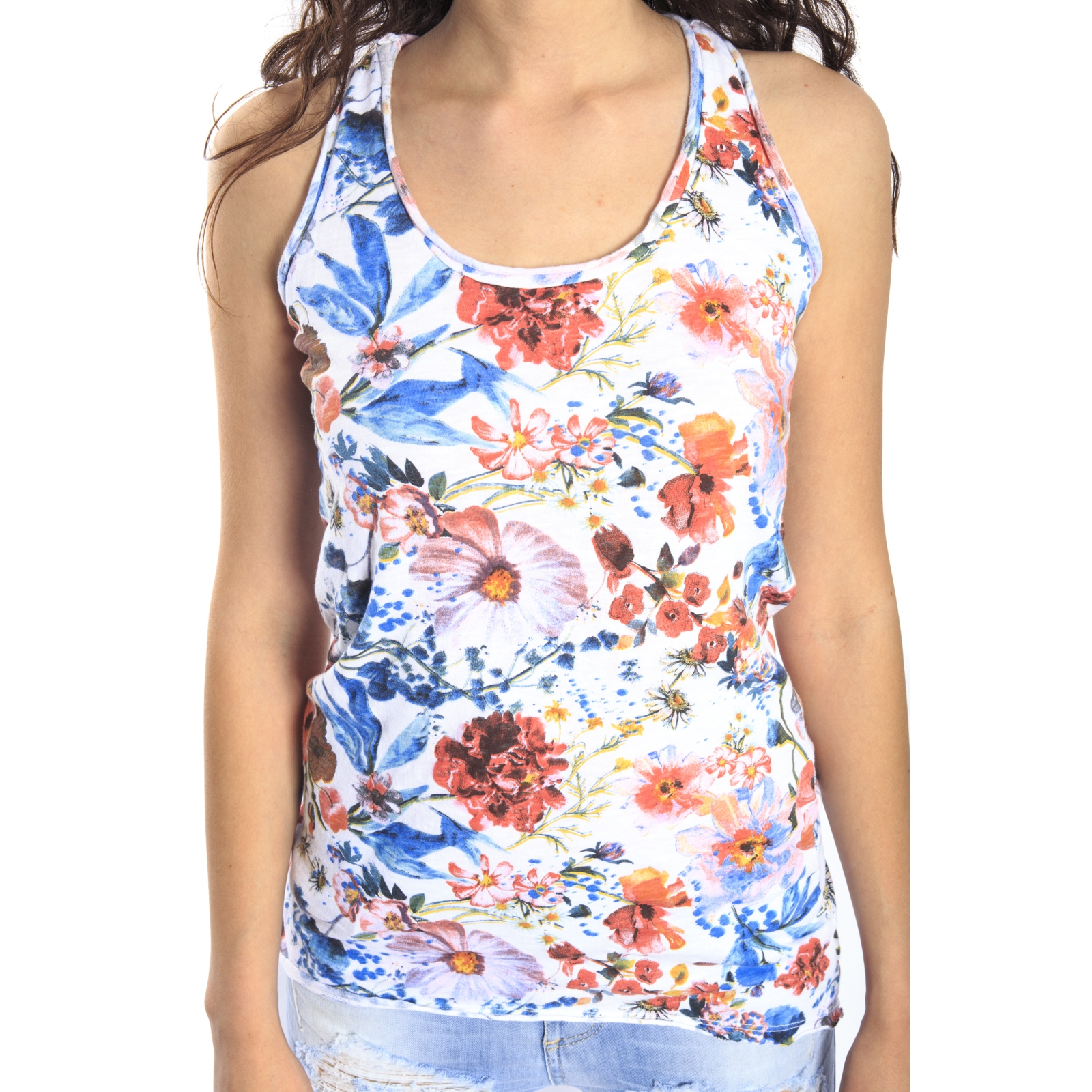 Susy Mix Top With Flowers White Art 743