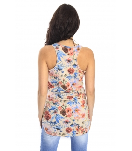 SUSY MIX Top con stampa fiori BEIGE Art. 743