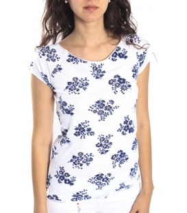 SUSY MIX T-shirt WHITE with BLUE flowers Art. 3671