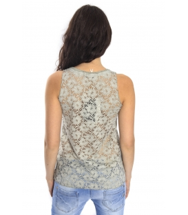 SUSY MIX Top traforato in sangallo VERDE Art. 14006