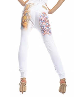 MARYLEY Jeans boyfriend baggy FANTASY WHITE con stampa B51E