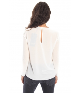 MARYLEY Blouse with plissé WHITE Art. B05B