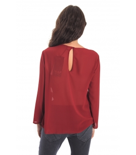 MARYLEY Blouse with plissé BORDEAUX Art. B05B