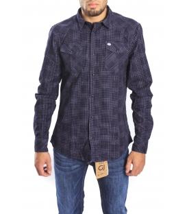 Gaudi Jeans - camicia a quadretti blu in cotone invernale 52bu42099