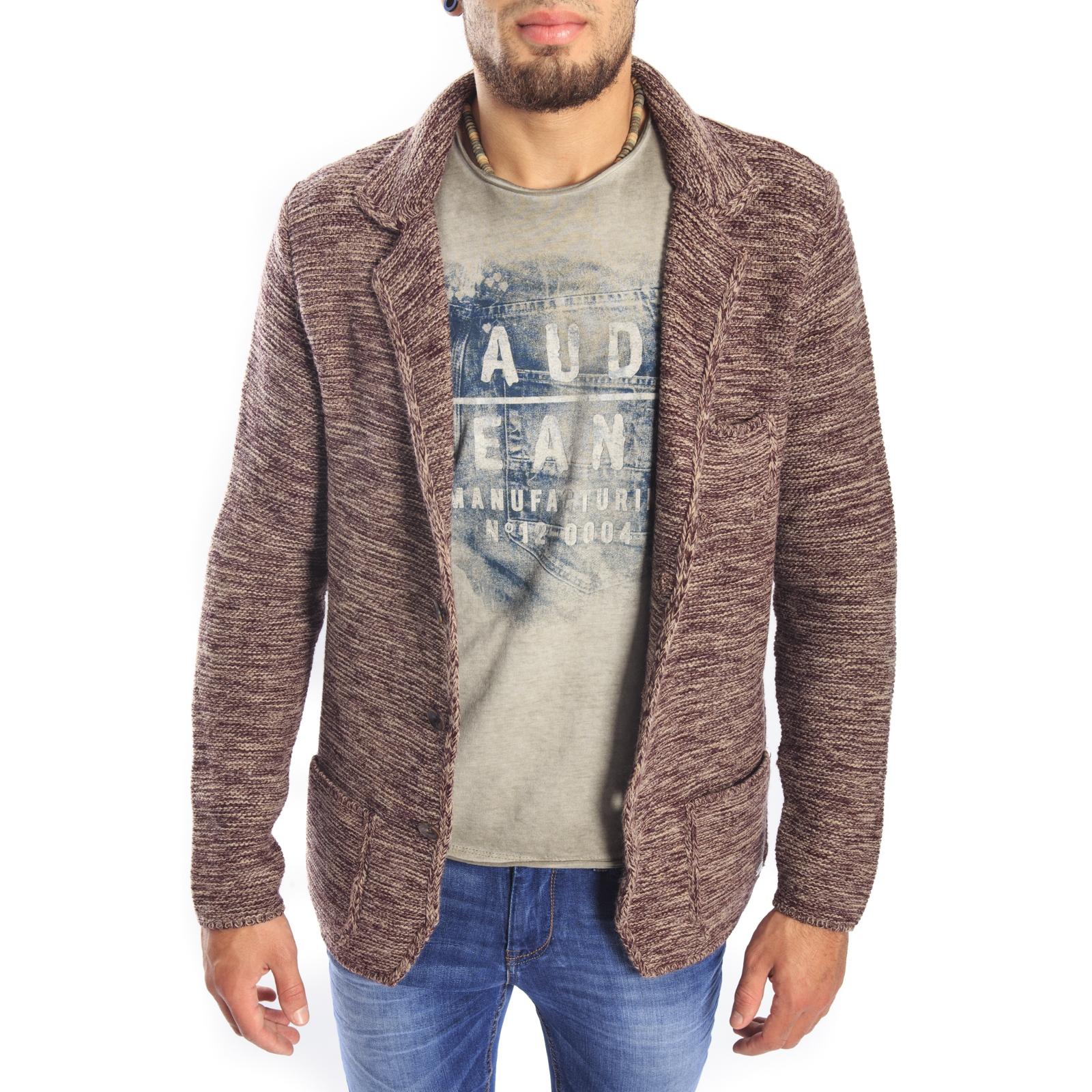 38ea658eff1b Gaudi Jeans - knit jacket beige   bordeaux 52bu56001