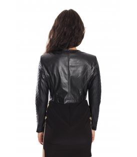 RINASCIMENTO Jacket in eco-leather with stars BLACK Art. CFC0070017003
