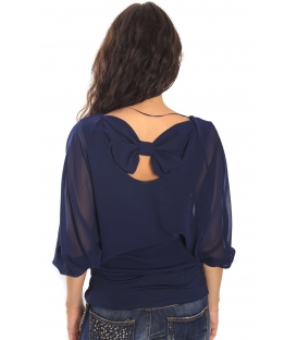 RINASCIMENTO Blouse with bow BLUE Art. CFC0069953003