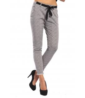 RINASCIMENTO Pants baggy BLACK and WHITE + belt Art. CFC0069257003