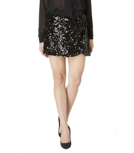 ALMAGORES Short skirt with paillettes BLACK Art. 541AL70754