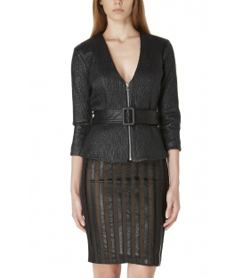ALMAGORES Jacket in eco-leather with belt BLACK Art. 541AL30300