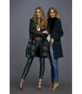 ALMAGORES Coat in panno check GREEN/BLUE Art. 541AL30317