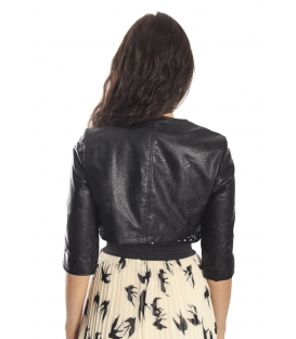 RINASCIMENTO Short jacket in eco-leather with buttons BLACK Art. CFC0069654003