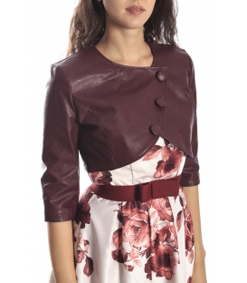 RINASCIMENTO Short jacket in eco-leather with buttons BORDEAUX Art. CFC0069654003
