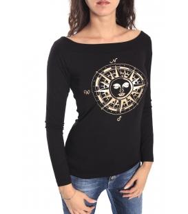 DENNY ROSE Maglia / T-shirt scollo ampio con stampa NERO 52DR61020