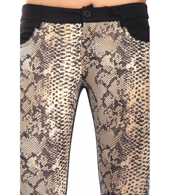 DENNY ROSE Pantalone leggings slim fit animalier NERO 52DR21021