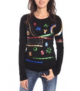DENNY ROSE Maglia / T-shirt con paillettes NERO 52DR61013