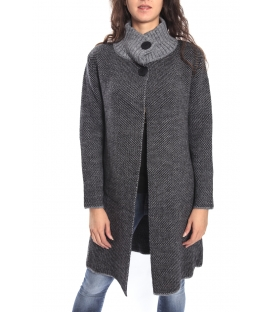 GRAFFIO Long coat with 2 buttons GREY- BLACK Art. WGD393