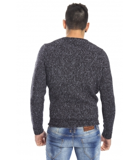 DIKTAT Maglione girocollo con taschino FANTASY BLACK Art. D77061 Made in Italy
